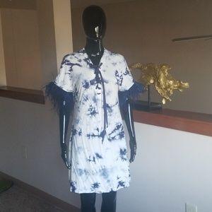Tie dye dress w/ feather detail